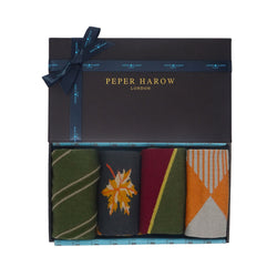 Rustic Men's Gift box containing Kensington Juniper socks, Autumn Leaf Grey socks, Hilltop Juniper Socks and Big Diamond Orange Socks