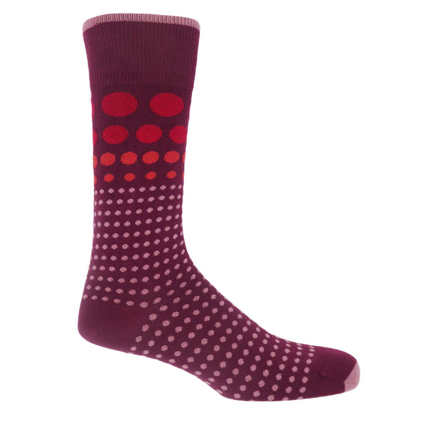 Grad Polka Men's Socks - Burgundy