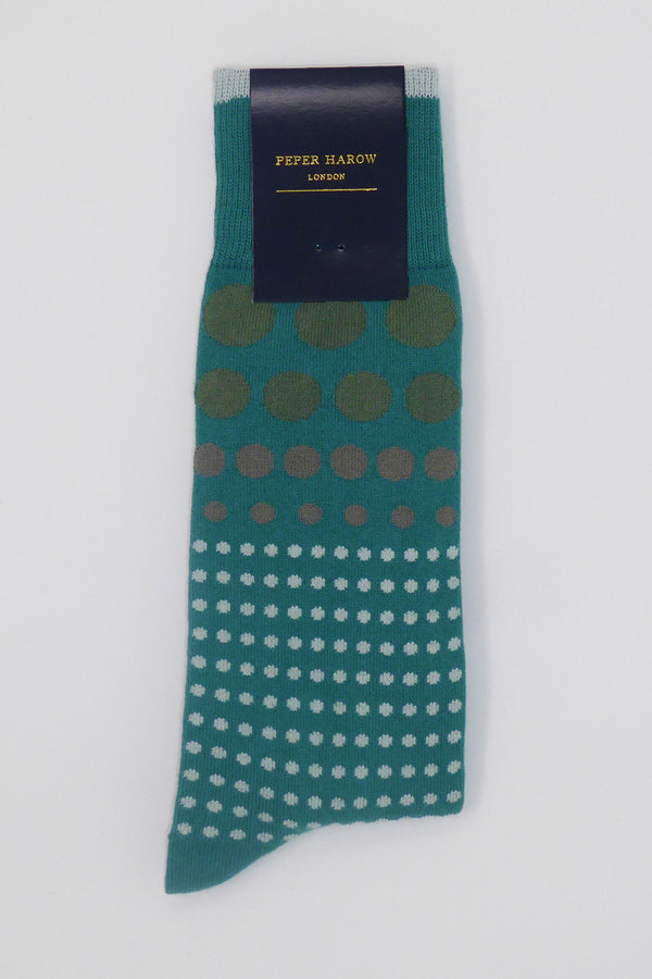 Teal Grad Polka Luxury Men's Socks