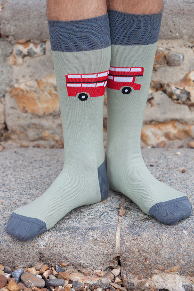 London Bus Men's Socks - Sage