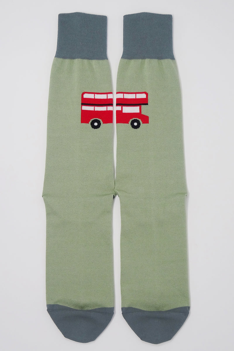 Green London Bus Men's Socks Top