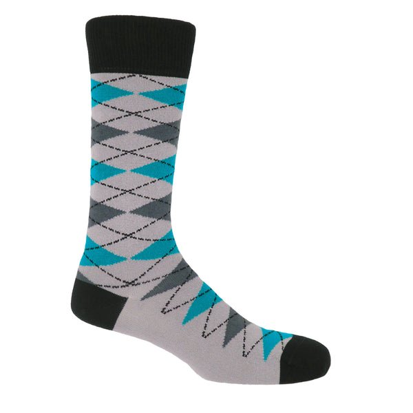 Grey Argyle Luxury Men's Socks