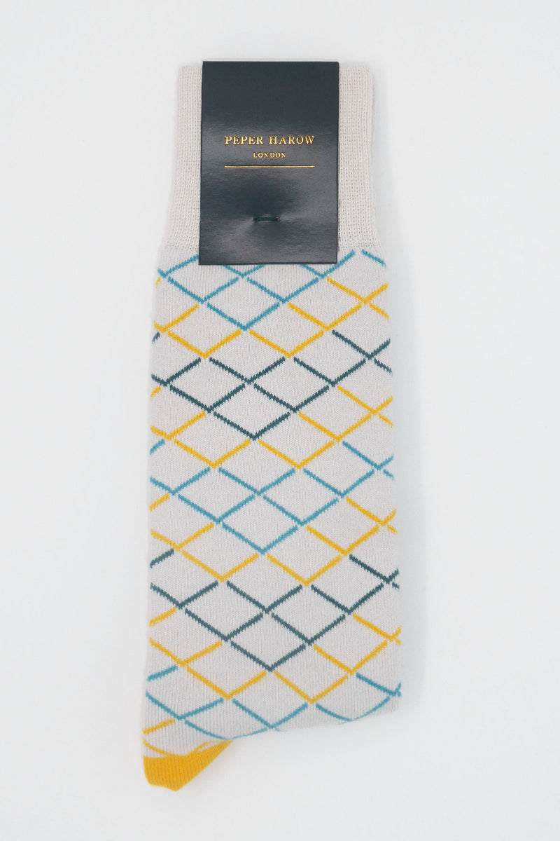 Yellow & Grey Hastings Luxury Men's Socks