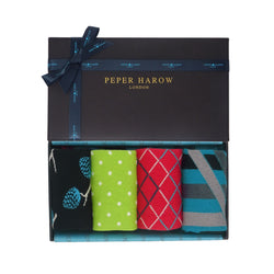 Jolly Christmas Gift Box Containing Pine Black, Pin Polka Mint, Hastings Crimson and Ribbon Stripe Peacock