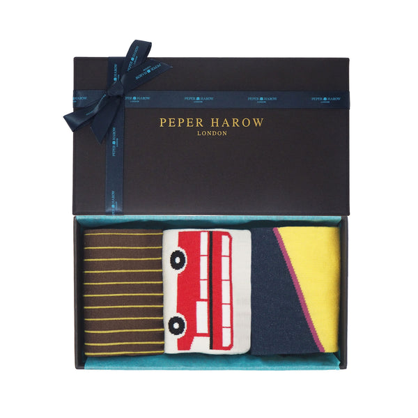 Leisure men's gift box by Peper Harow containing Brown Oxford Stripe, cream London bus and bumblebee yellow Hilltop mercerised egyptian cotton socks