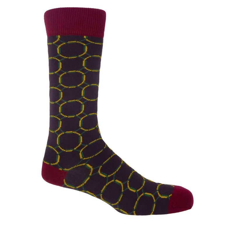 Peper Harow Linked Purple Men's Luxury Cotton Socks