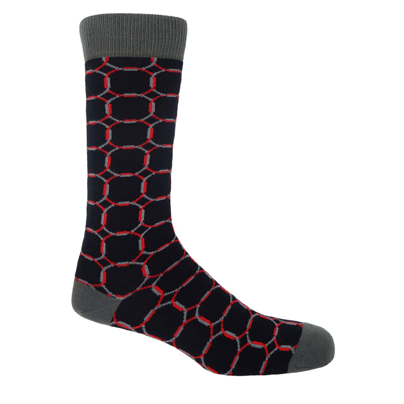 Peper Harow BLack Linked Men's socks with linking red and grey circles on the socks