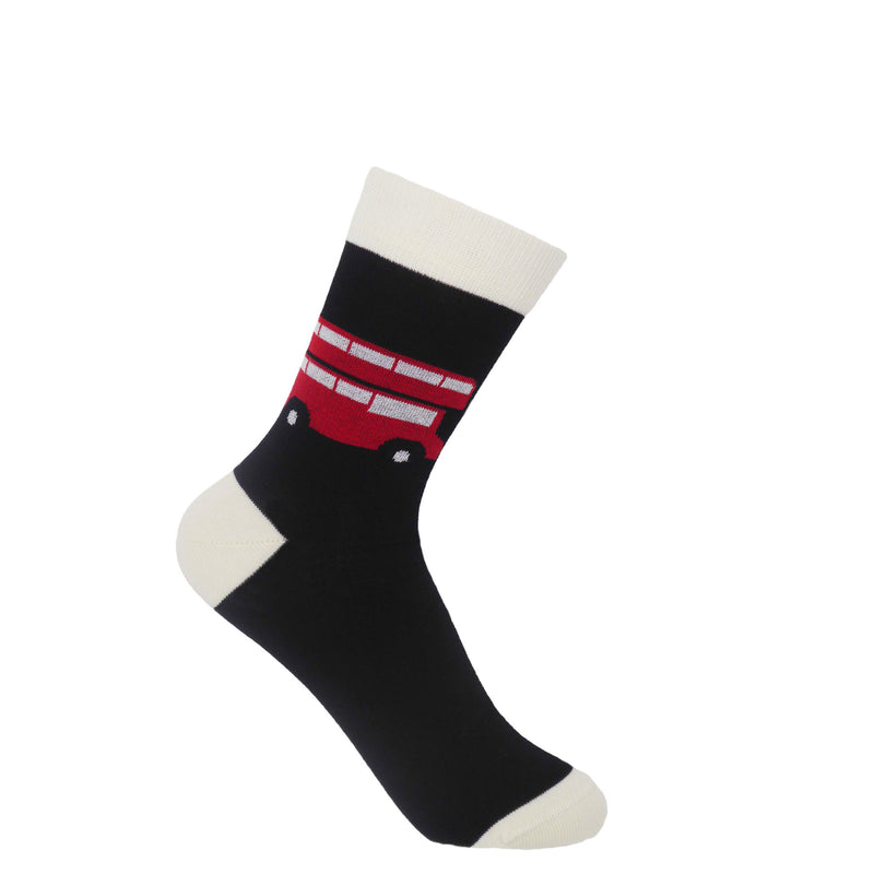 London bus ladies black socks by Peper Harow, featuring white cuff, heel and toe, with an icon red London bus on the ankle.