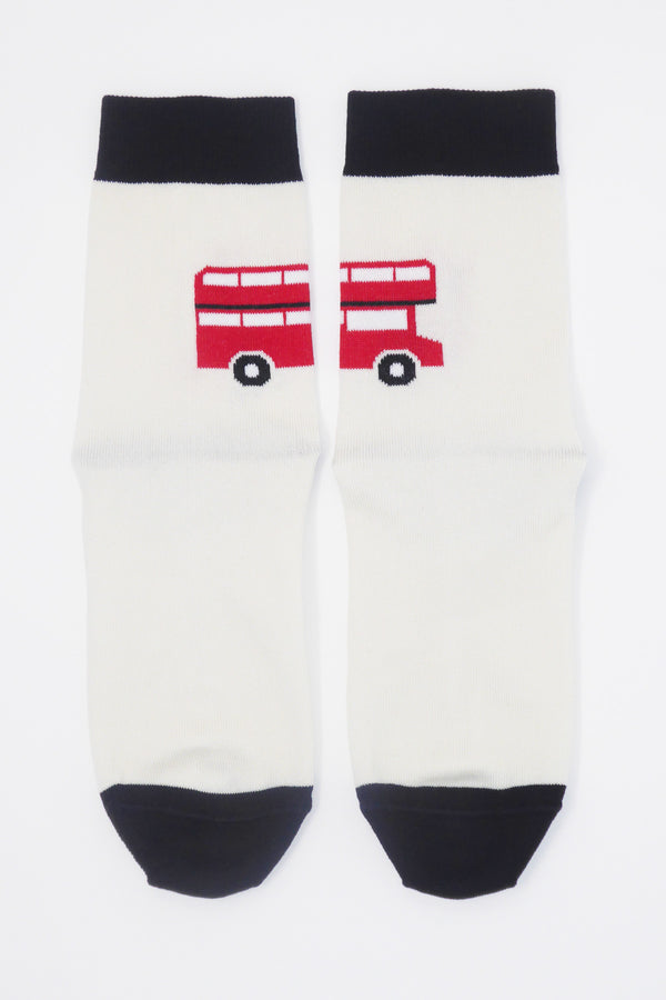 London Bus Women's Socks - Cream