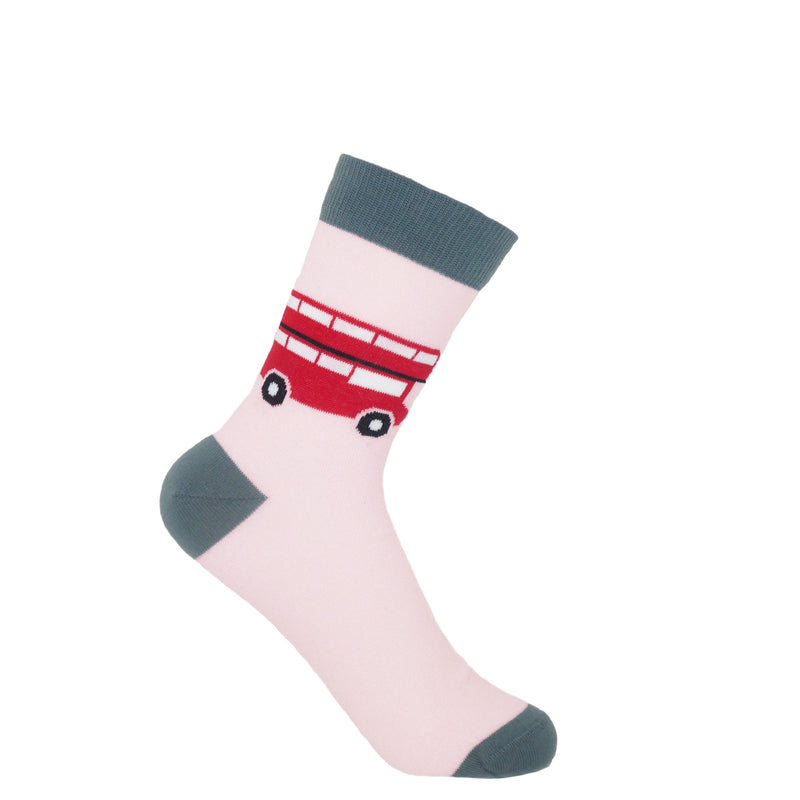 London Bus Pink Ladies Socks