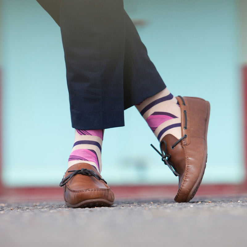 Geometric Men's Socks - Marshmallow