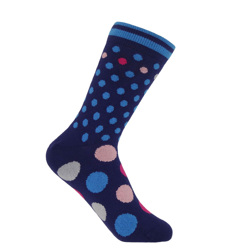 Mary navy ladies socks featuring light blue stripes on the cuff, small light blue and mulitcolour polka dots on the calf and large multicolour polka dots on the foot