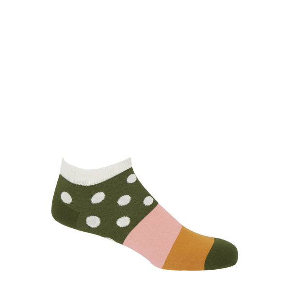Peper Harow Cream Mayfair training socks with a khaki coloured ankle with cream polka dots, a pink, mustard and khaki band down the foot