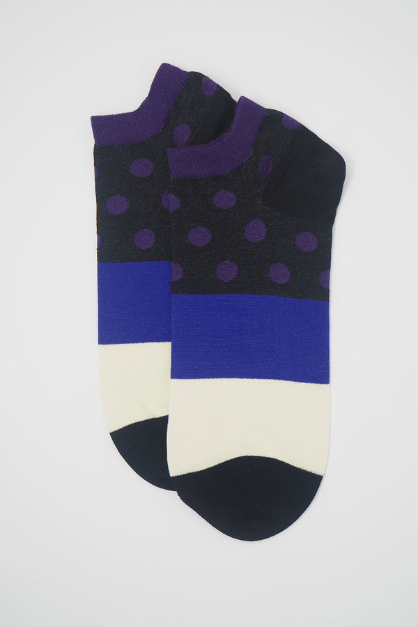 Peper harow mayfair Purple men's luxury trainer socks with a black ankle and purple polka dots with a black white and black band down the foot