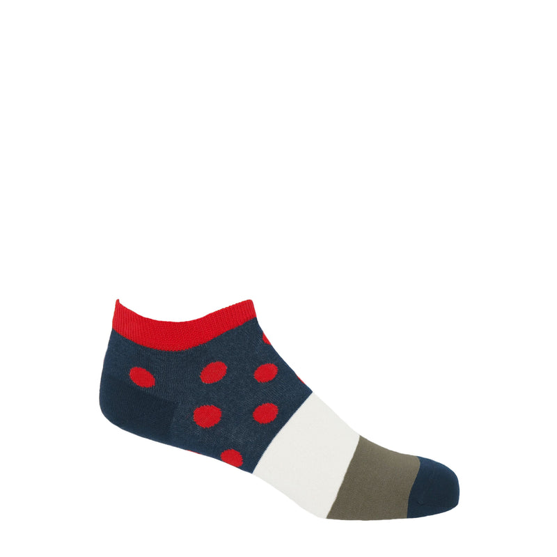 Peper Harow scarlet mayfair men's egyptian cotton trainer socks with a navy band around the ankle with red polka dots, with a white, grey and navy band down the foot