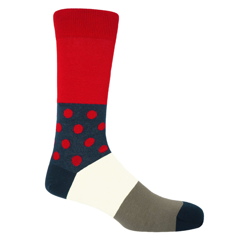 Peper Harow scarlet Mayfair men's egyptian cotton luxury socks woth red polka dots