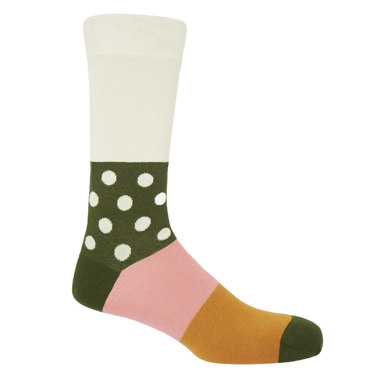 Peper Harow cream Mayfair men's egyptian cotton luxury socks with cream polka dots