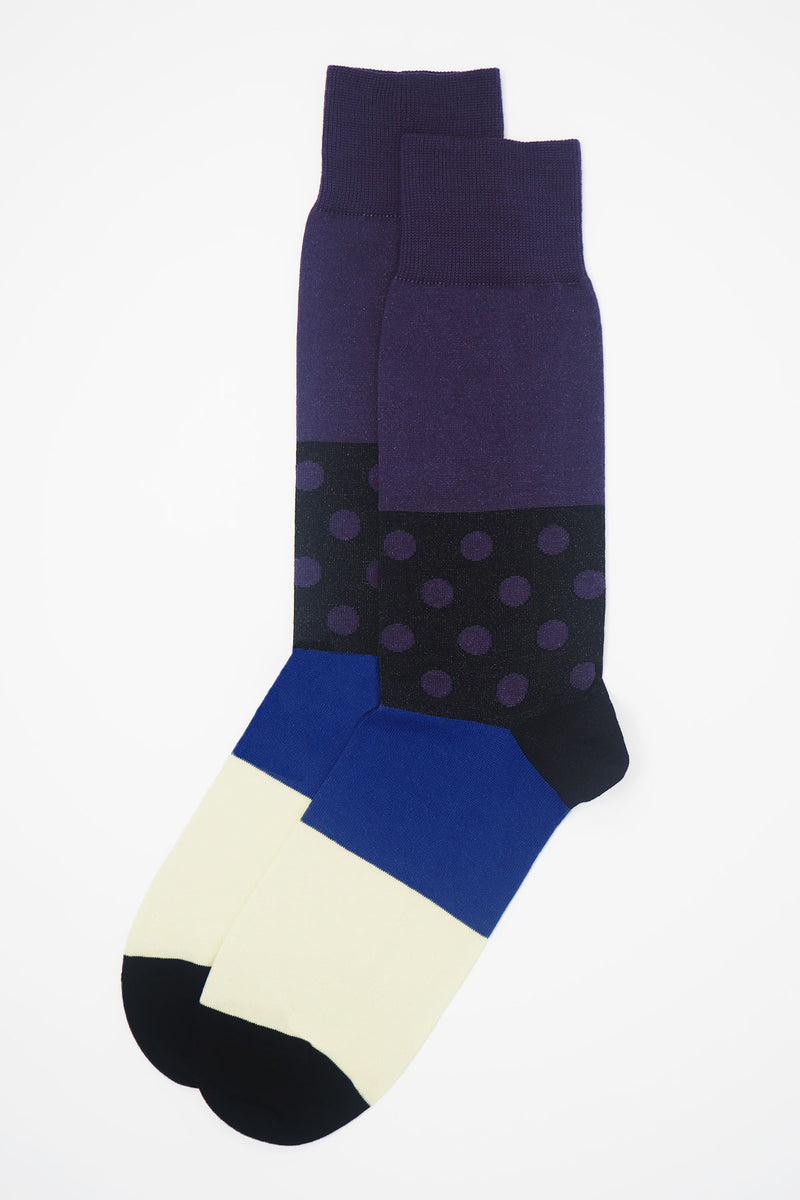Peper Harow Mayfair purple Men's Luxury socks with purple calf, black ankle, and blue and white stripes around the foot