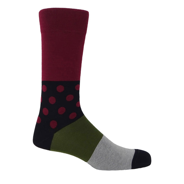 Peper Harow Mayfair burgundy egyptian mercerised cotton socks for men with a plain burgundy calf and polka dot ankle
