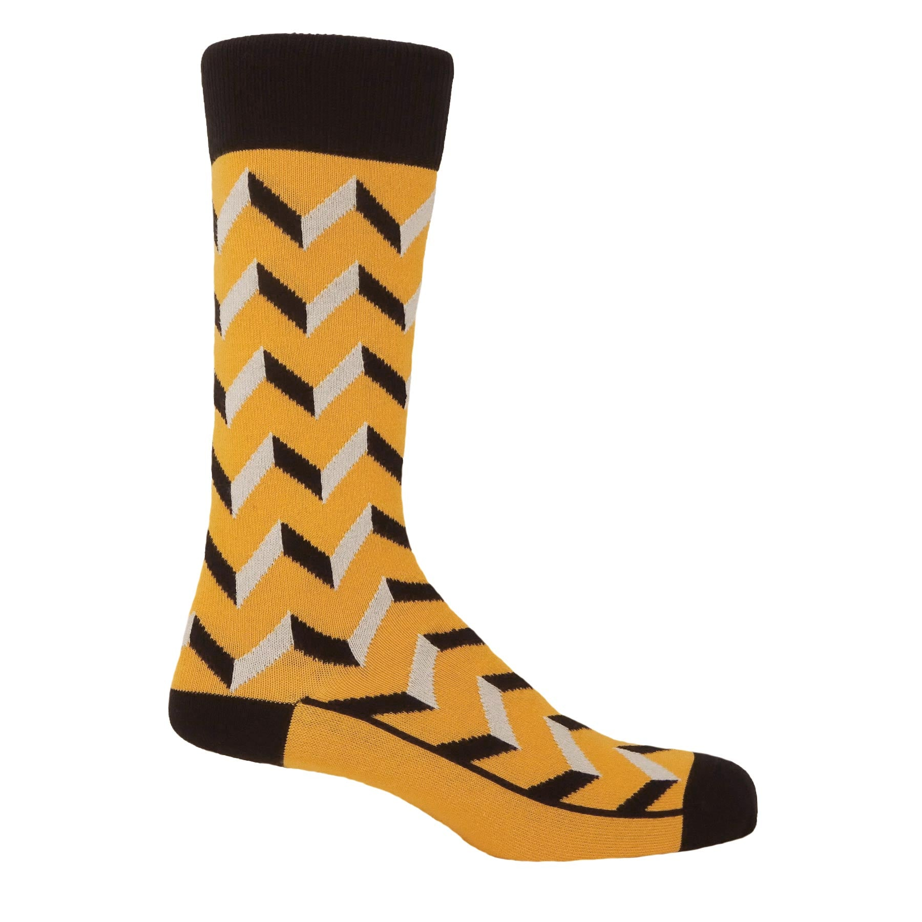 Optical Men's Socks - Mustard
