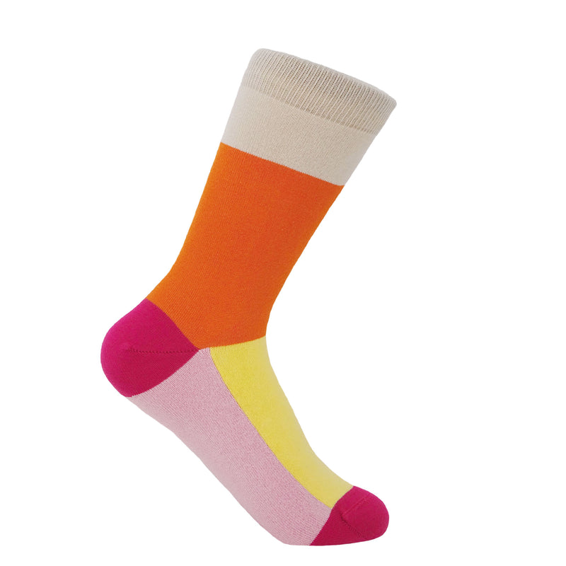 Victoria orange women's socks featuring a beige cuff, orange ankle, pink heel sole and toe