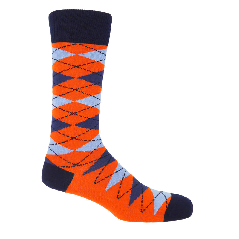 Orange Argyle Men's Luxury Socks