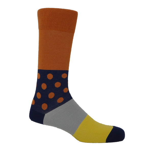 Orange & Navy Mens Socks Personalised Socks