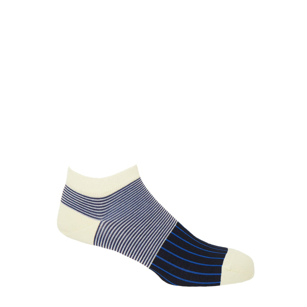 Peper harow men's black Oxford Stripe egyptian cotton trainer socks with a cream cuff, heel and toe, with blue vertical stripes down the foot and navy horizontal stripes around the ankle