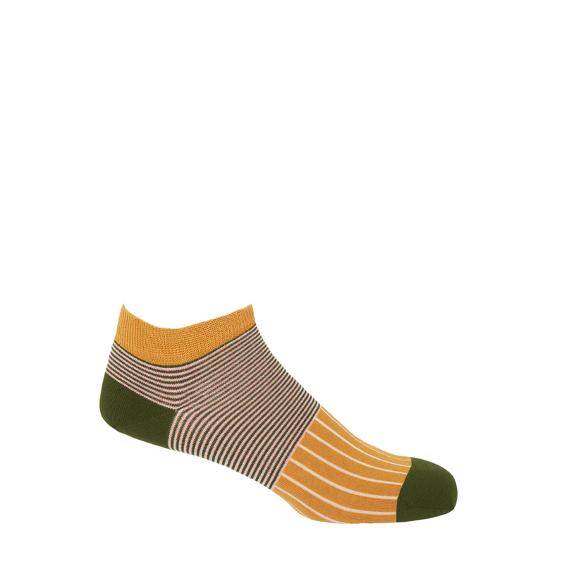 Peper Harow mustard oxford stripe egyptian cotton trainer socks with a green heel and toe and green and pink horizontal stripes around the ankle, with cream vertical stripes down the foot
