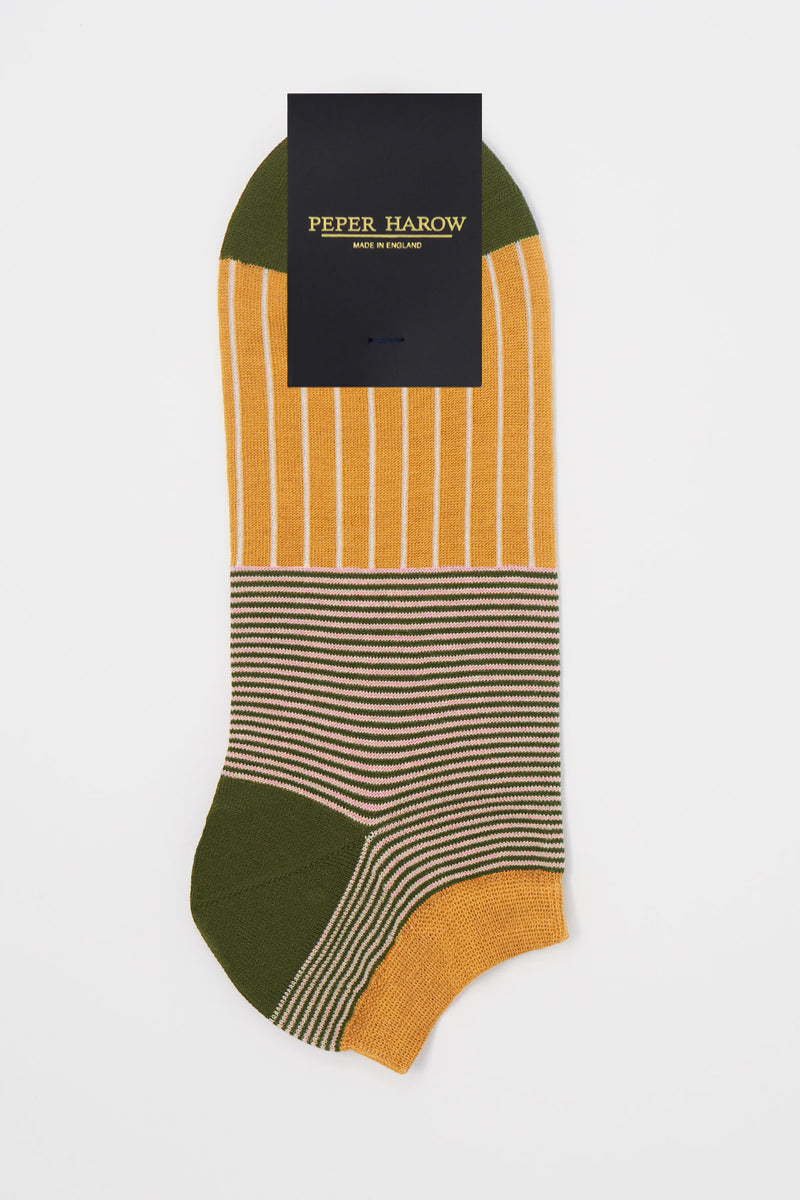 Peper Harow mustard Oxford Stripe egyptian cotton men's luxury trainer socks in packaging