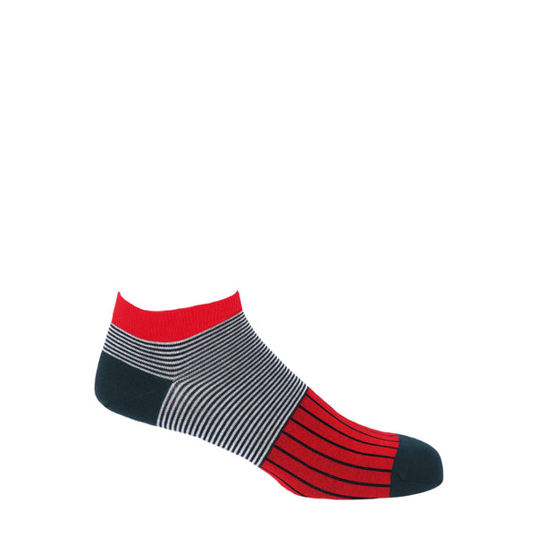 Peper Harow Scarlet oxford stripe egyptian cotton men's luxury trainer socks with navy heel, toe and horizontal stripes around the ankle contrasting with white stripes and blue vertical stripes down the foot