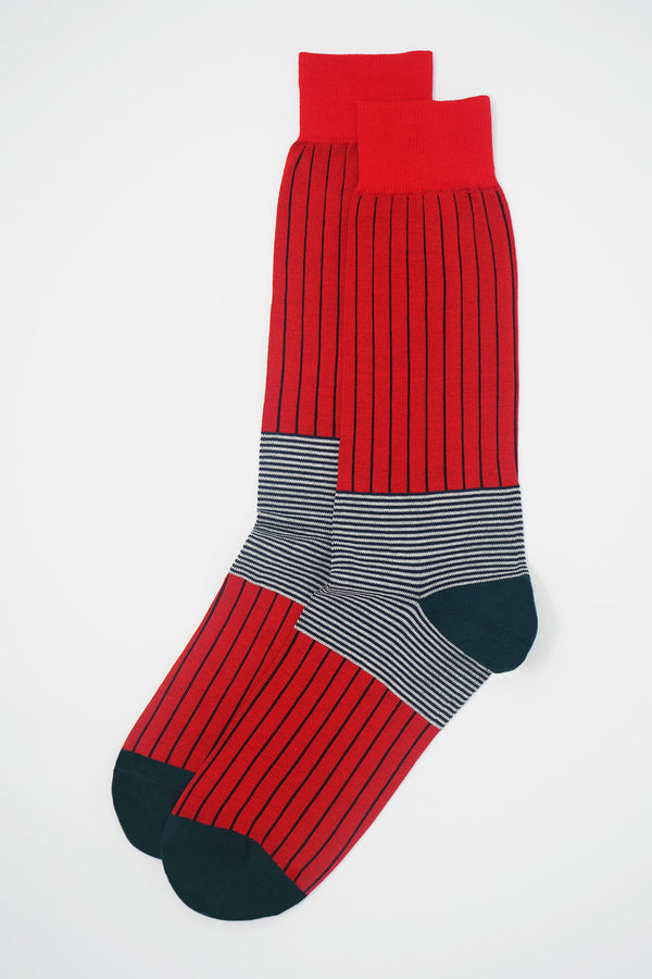 Peper Harow Scarlet oxford stripe egyptian cotton luxury socks for men featuring coal black stripes