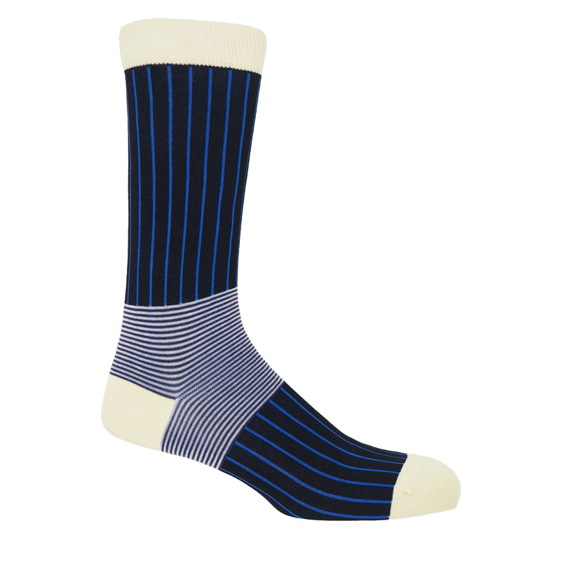 Peper Harow black Oxford stripe men's luxury egyptian cotton socks with vivid blue stripes