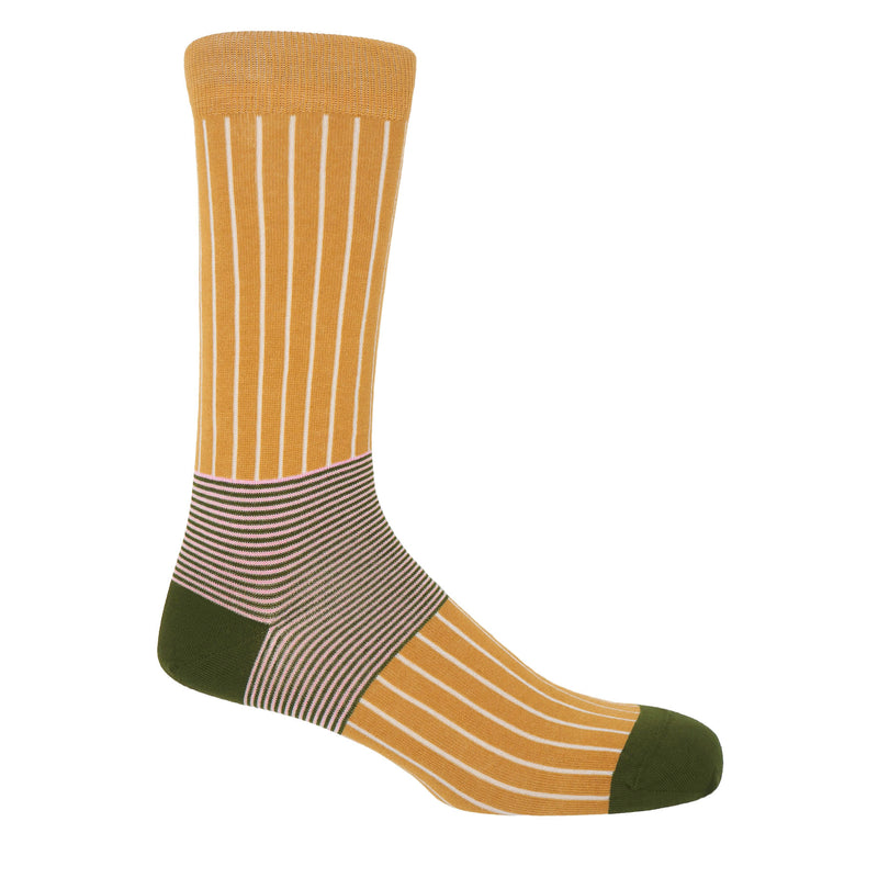 Peper Harow mustard Oxford Stripe luxury egyptian cotton socks for men, with a khaki heel and toe and cream vertical stripes