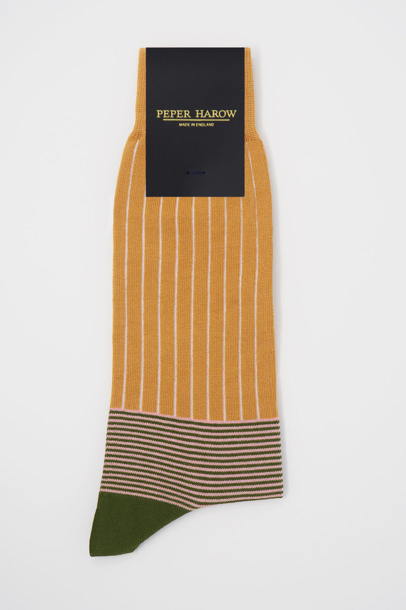 Oxford Stripe Men's Socks - Mustard