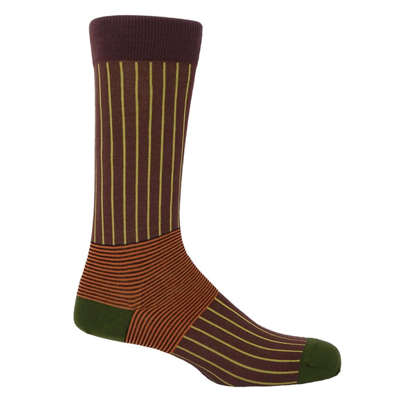 Peper Harow Brown Oxford Stripe mens luxury socks with bright yellow stripes intersecting with orange and black stripes around the ankle