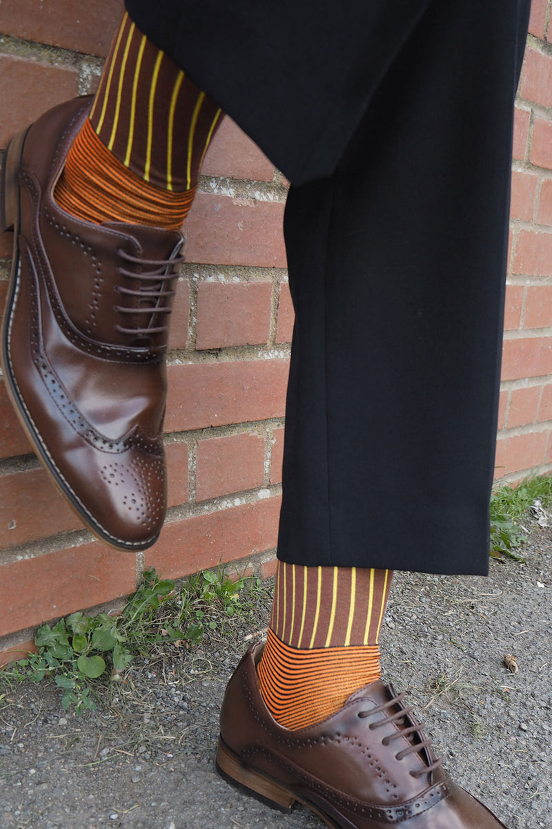 Oxford Stripe 60's luxury men's socks