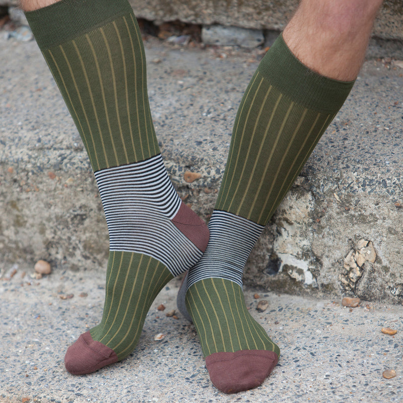 Oxford Stripe Men's Socks - Sage