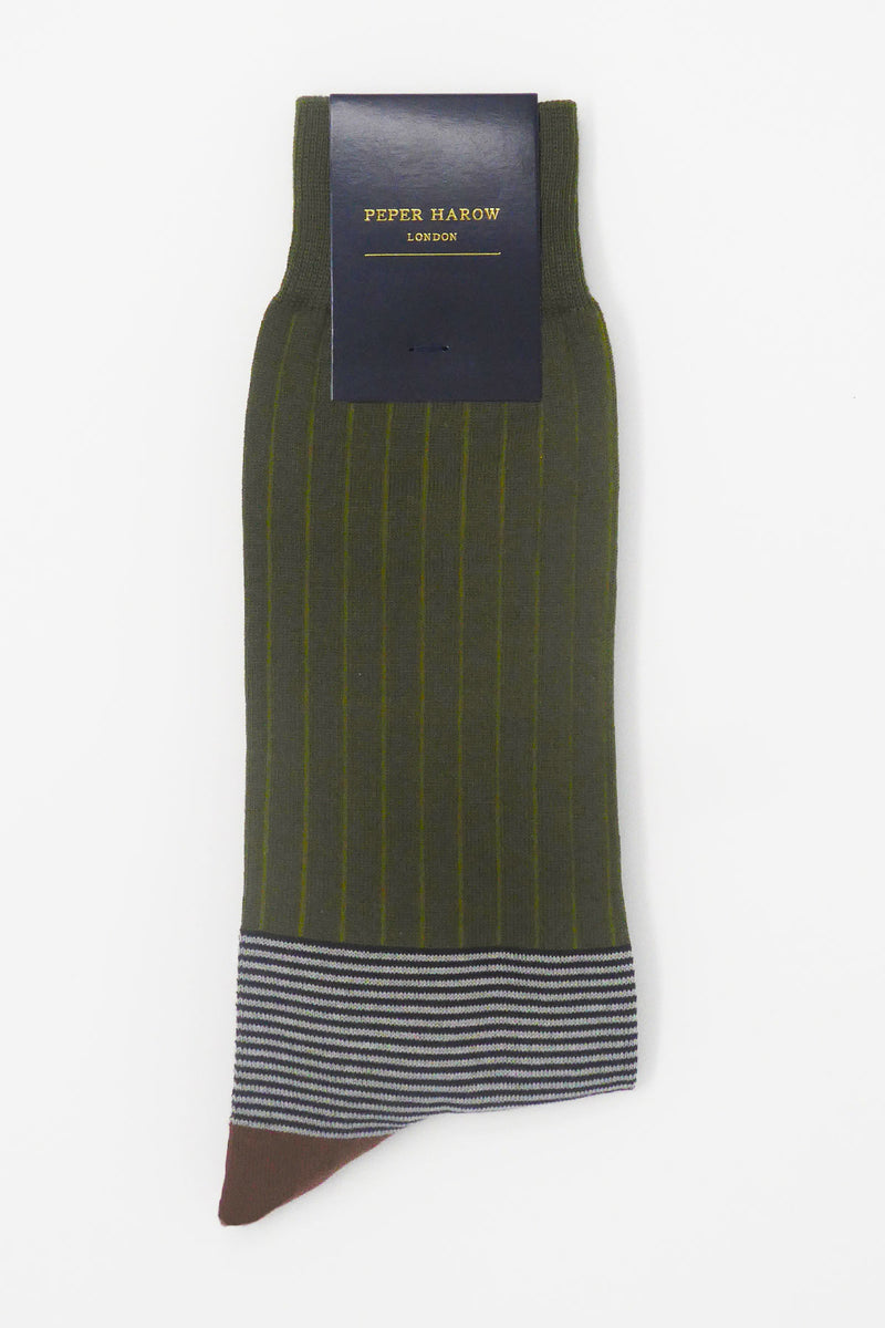 Oxford Stripe Sage luxury men's socks