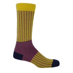 Oxford Stripe Men's Socks - Yellow