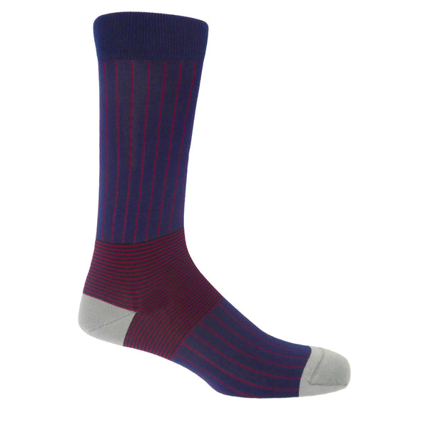 Oxford Stripe Men's Socks - Navy