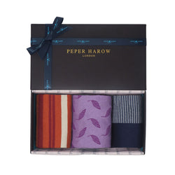 Peper Harow Passionate ladies gift box containing ginger Elizabeth, violet leaf and navy anne luxury women's socks