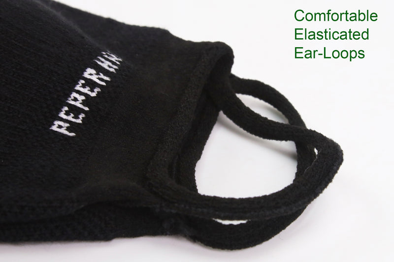 Peper Harow black face mask showing close up of comfortable elasticated ear loops