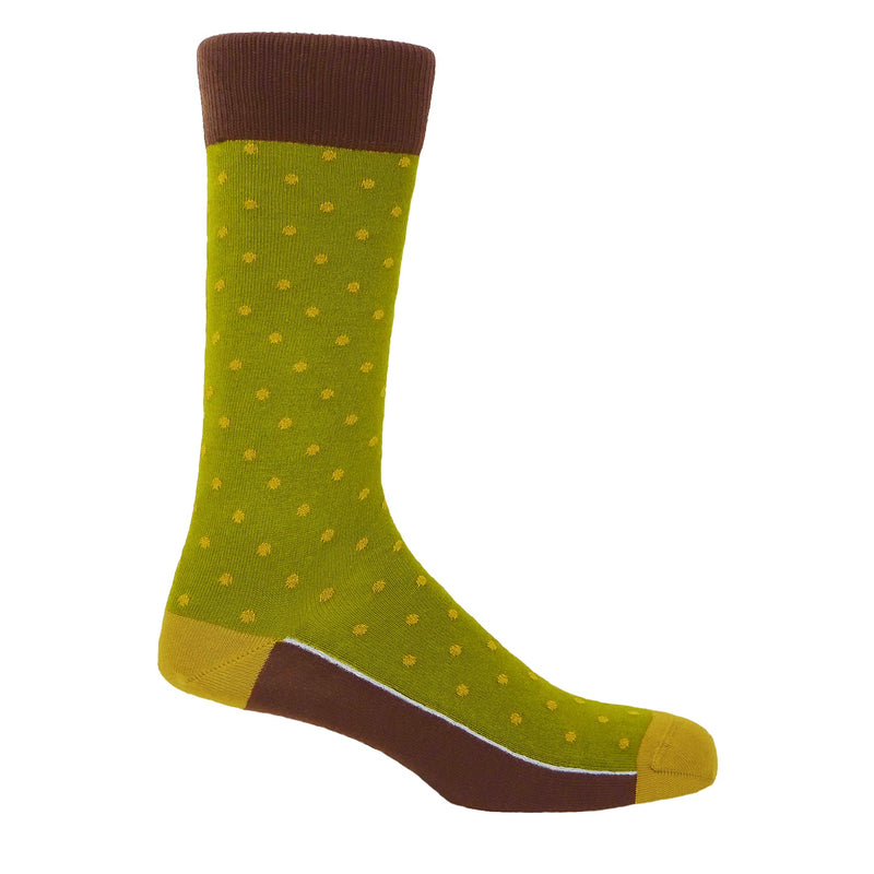 Peper Harow Olive Pin Polka Luxury Men's Cotton Socks