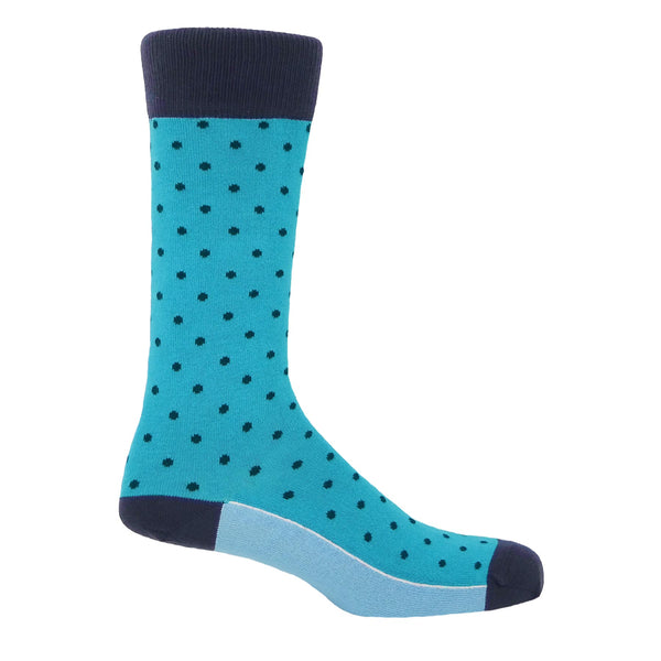 Azure Pin Polka Men's Luxury Socks