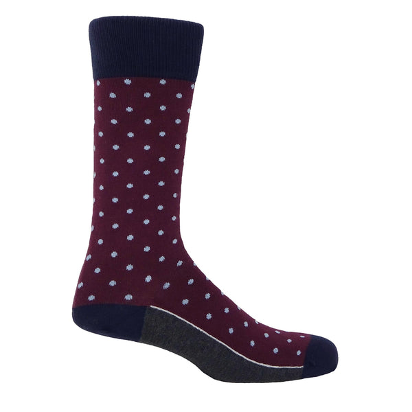 Pin Polka Blue Men's Socks - Burgundy