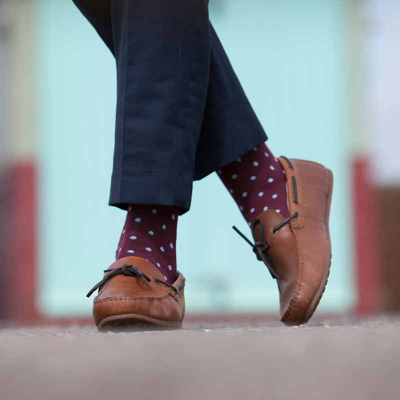 Pin Polka Burgundy Men's Socks
