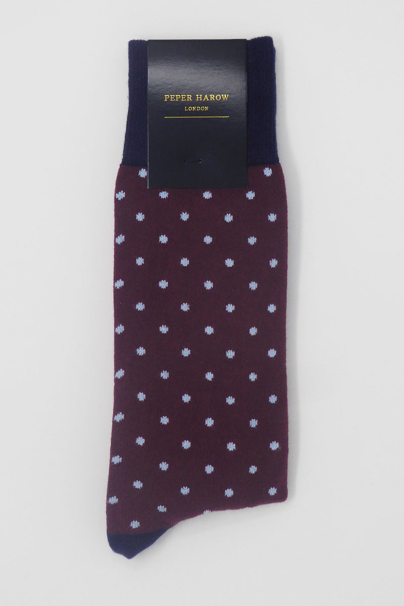 Pin Polka Burgundy Luxury Men's Socks