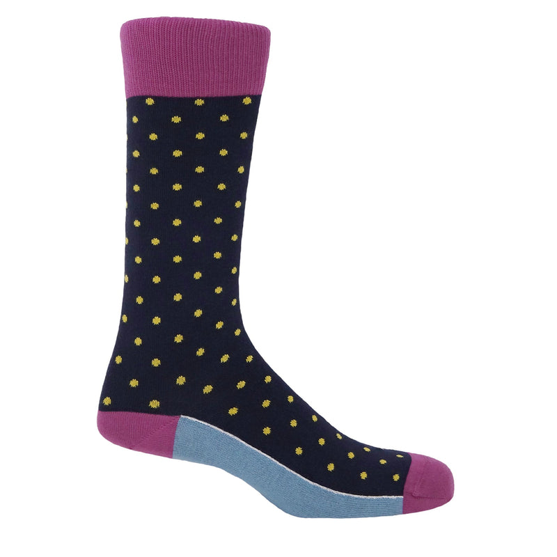 Pin Polka Midnight Luxury Men's Socks