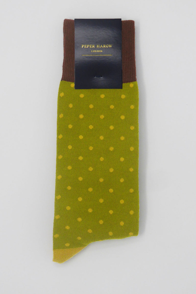 Olive Pin Polka Luxury Men's Socks